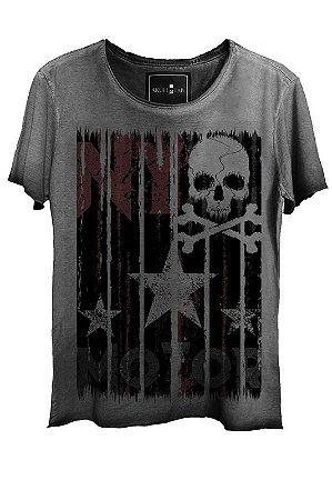 Camiseta Estonada Gola Canoa Corte a Fio Skull  Star
