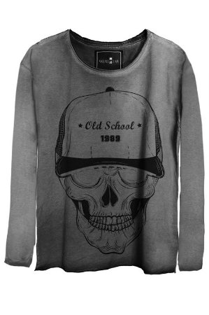 Camiseta Estonada Gola Canoa Manga Longa  Skull Bonnet
