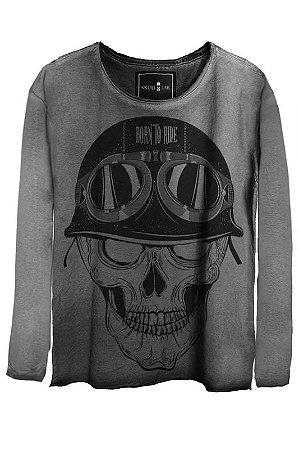 Camiseta Estonada Gola Canoa Manga Longa Skull Pilot