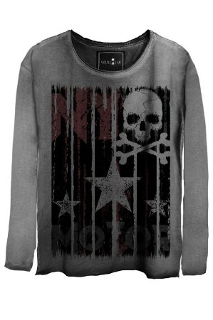 Camiseta Estonada Gola Canoa Manga Longa Skull Star
