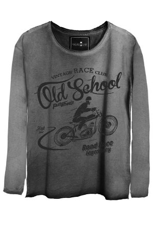 Camiseta Estonada Gola Canoa Manga Longa Old School