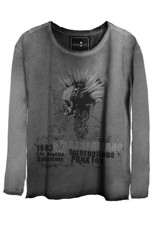 Camiseta Estonada Gola Canoa Manga Longa Skull Punk