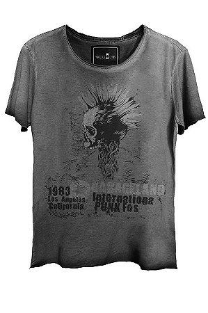Camiseta Estonada Gola Canoa Corte a Fio Skull Punk