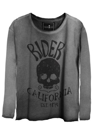Camiseta Estonada Gola Canoa Manga Longa Skull Rider