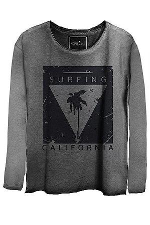 Camiseta Estonada Gola Canoa Manga Longa Surfing