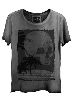 Camiseta Estonada Gola Canoa Corte a Fio Skull Beach
