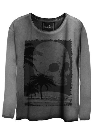 Camiseta Estonada Gola Canoa Manga Longa Skull Beach