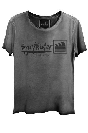 Camiseta Estonada Gola Canoa Corte a Fio Surf Rider