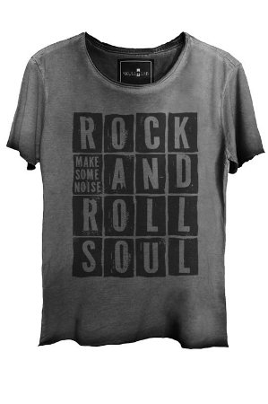 Camiseta Estonada Gola Canoa Corte a Fio Rock and Roll