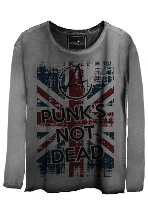 Camiseta Estonada Gola Canoa Manga Longa London Punk not Dead