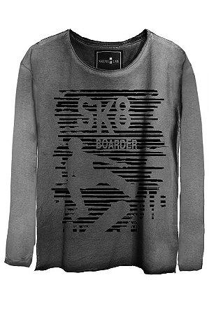 Camiseta Estonada Gola Canoa Manga Longa SK8 Boarder