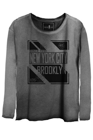 Camiseta Estonada Gola Canoa Manga Longa New York City
