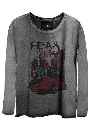 Camiseta Estonada Gola Canoa Manga Longa Fear 7926