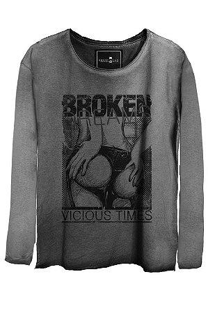 Camiseta Estonada Gola Canoa Manga Longa Broken 7925