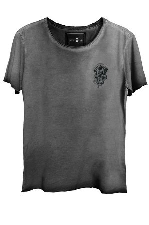 Camiseta Estonada Gola Canoa Corte Grafite Skull  Caveira 7924