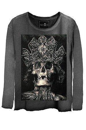 Camiseta  Estonada Gola Canoa Manga Longa King Skull