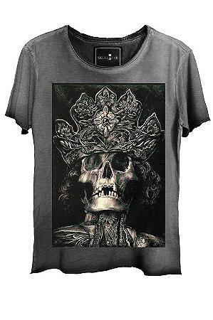 Camiseta  Estonada Gola Canoa king Skull Corte a Fio