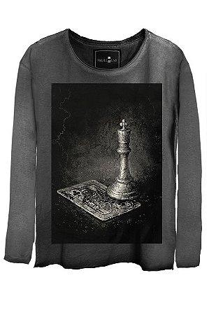Camiseta  Estonada Gola Canoa Manga Longa king
