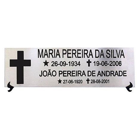 PLACA PÓSTUMA EM AÇO INOX 30x12 CM (AÇO ESPELHADO/BRILHO OU AÇO ESCOVADO)