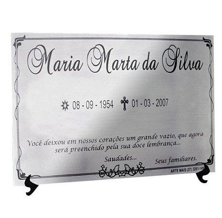 PLACA PÓSTUMA EM AÇO INOX 30x22 CM (AÇO ESPELHADO/BRILHO OU AÇO ESCOVADO)