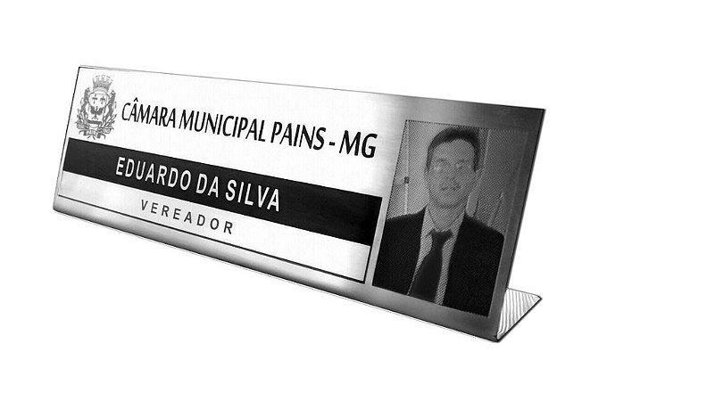 PLACA DE IDENTIFICAÇÃO PARA MESA 12 X 28CM(AÇO ESPELHADO/BRILHO OU AÇO ESCOVADO)