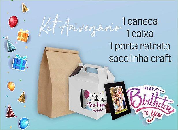 Kit Aniversário (1 Caneca + 1 Porta Retrato + Caixa + Saco Kraft