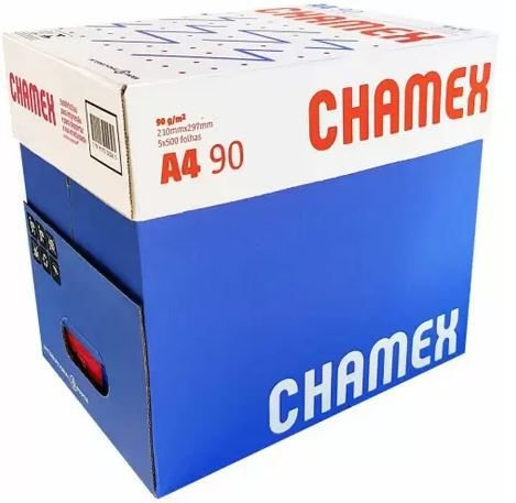 Papel Chamex  A4 90gramas 210mmx297mm caixa com 5 resmas de 500 folhas cada