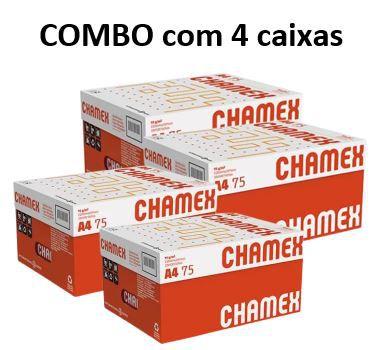 Combo de 4 caixas de Papel Chamex Office A4 75gramas 210mmx297mm caixa com 10 resmas de 500 folhas cada