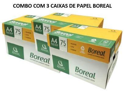 3 caixas de Papel sulfite Boreal 75gramas -  branco - caixa com 10 unidades de 500 folhas