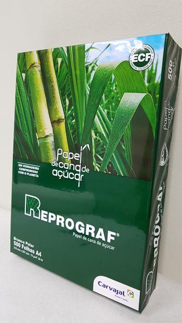Papel Sulfite A4 - Extra Branco 75 grs - Reprograf - 100% de Bagaço de Cana de Açúcar, Cx c/10 Pcts de 500 Folhas