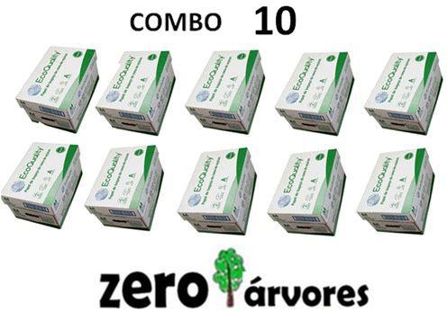10 caixas de  Sulfite A4, cx c/10 pcts cada de 500fls, Extra Branco Ecoquality 75grs- 100% de Bagaço de Cana de Açúcar