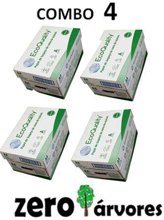 4 caixas de  Sulfite A4, cx c/10 pcts cada de 500fls, Extra Branco Ecoquality 75grs- 100% de Bagaço de Cana de Açúcar