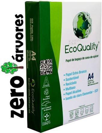 Papel Sulfite A4, cx c/10 pcts  500fls, Extra Branco Ecoquality 75grs- 100% de Bagaço de Cana de Açúcar