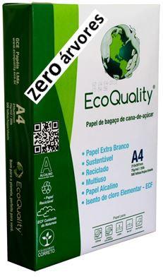 Papel Sulfite A4, Zero árvores, cx c/10 pcts  500fls, Extra Branco 75grs- 100% de Bagaço de Cana de Açúcar