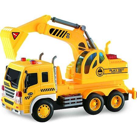 Caminhão Truck escavadeira Construção com luz e som 1:16