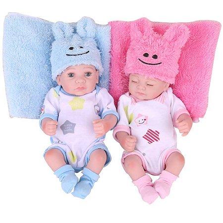 Boneca Bebe Reborn Laura Baby Gemeos Will e Ester