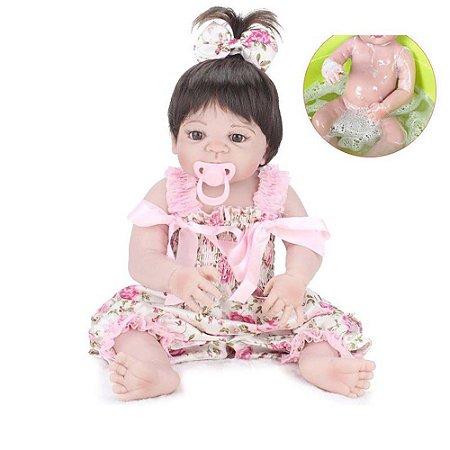 Boneca Bebe Reborn Laura Baby Mini Pink Flower