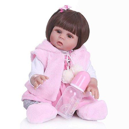 Boneca Bebe Reborn Laura Baby Paola 48 cm corpo silicone pode dar banho