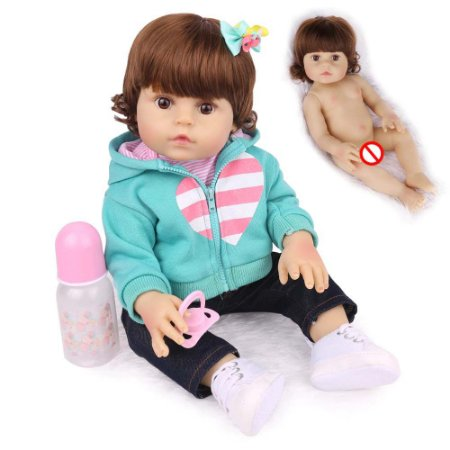 Boneca Bebe Reborn Laura Baby Maya 47 cm corpo silicone pode dar banho