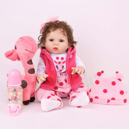 Boneca Bebe Reborn Laura Baby Emily 45 cm corpo silicone pode dar banho