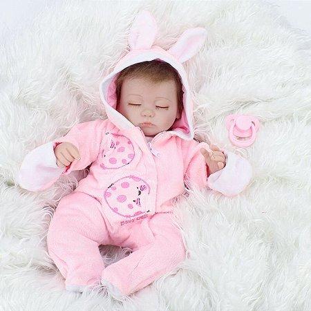 Boneca Bebe Reborn Laura Baby Yasmin 48 cm menina corpo algodão
