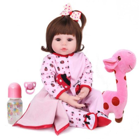 Boneca Bebe Reborn Laura Baby Bruna 47cm