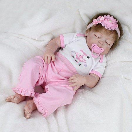 Boneca Bebe Reborn Laura Baby Ayla 55 cm corpo silicone pode dar banho