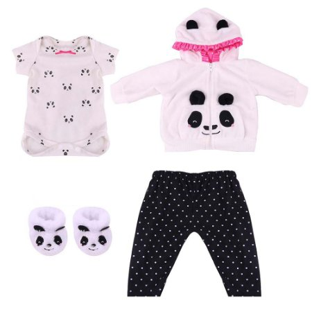 Roupa Para Boneca Bebê Reborn Com Casaco Panda