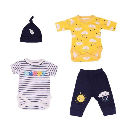 Roupa Para Boneca Bebê Reborn Menino Conjunto Azul e Amarelo