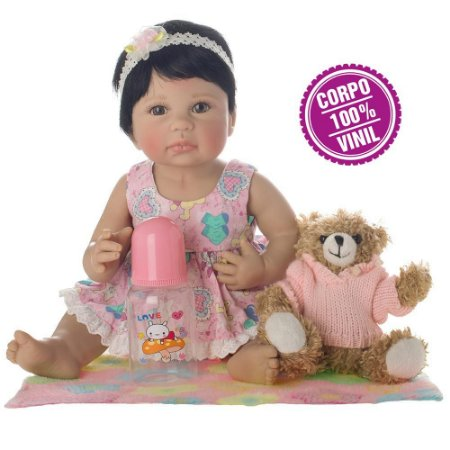 Boneca Bebe Reborn Laura Newborn Liz corpo silicone pode dar banho
