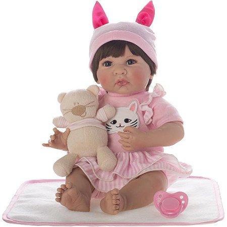Boneca Bebe Reborn Laura Baby Antonela menina corpo algodão