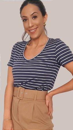 T-Shirt Feminina Gola V - Listras Azul Marinho/Off-White