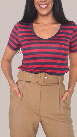 T-Shirt Feminina Gola V - Listras Marinho/Vermelho
