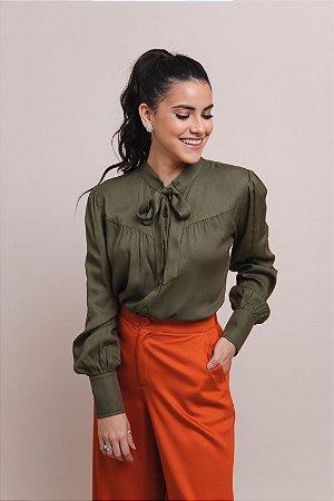 Camisa Manga Longa Feminina Crepe Sabrina - Verde Oliva